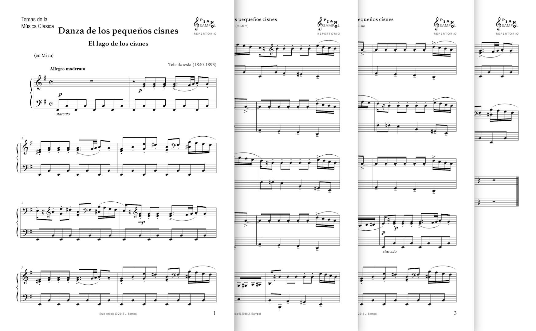 Danza De Los Pequenos Cisnes De Tchaikovsky Material De Musica